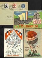 Carte Postales Et 1 Lettre De La Fête De L'Humanité 1946 - 1947 - 1951 à Vincennes. TB - 1921-1960: Periodo Moderno