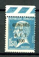 265 - 1F50 Bleu Pasteur B.I.T. - Neuf N** -  Bord De Feuille - Très Beau - 1922-26 Pasteur