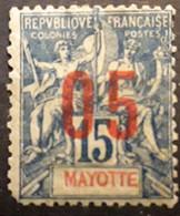 MAYOTTE 1912, Type Groupe Surchargé Yvert No 23, VARIETE CHIFFRES ESPACÉS 05 Sur 15 C Bleu , Neuf * MH - Neufs