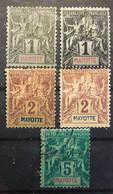 MAYOTTE 1892, Type Groupe,  Petit Lot De 5 Timbres Avec Nuances No 1 X2, 2 X2,  4, Neufs * / O , TB - Neufs