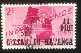 Etat Du Katanga -  T1/15 - (°)used - 1960 - Michel 44 - Zegel ' Onafhankelijkheid' - Katanga