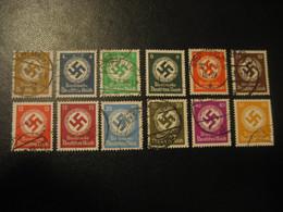 1934/1938 Service Mi 132/143 Cancel Swastika GERMANY Deutsches Reich Third Reich Dienstmarke Dienstmarken - Officials