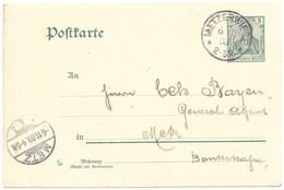 Moselle - EP 5pf Germania - Obl. METZERWIESE - 6.11.1903 Pour Metz - Alsazia-Lorena