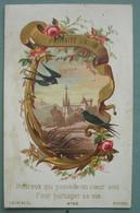 Fin XIXéme : IMAGE PIEUSE Chromo E. Durens N° 36 HEUREUX QUI POSSEDE UN COEUR AMI POUR PARTAGER SA VIE HOLY CARD SANTINO - Devotion Images