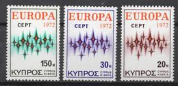 EUROPA CEPT 1972 NEUF ** 3TP CYPRUS - 1972
