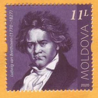 2020  Moldova Moldavie  250 Ludwig Van Beethoven Music, Violin, Piano, Symphony Germany Austria 1v Mint - Musica