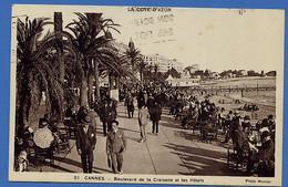 Cga244 Alpes Maritimes Cannes Boulevard De La Croisette Et Les Hôtels (voyagé 1928) - Cannes