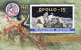 Raumfahrt Apollo 15 Ungarn Block 87 O 4€ Rakete 1972 Mond-Fahrzeug Bloque S/s Hoja Bloc Space M/s Sheet Bf Hungaria - USA