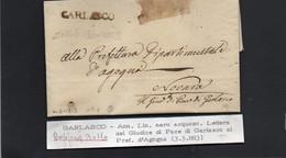 CG8 - Lettera Del Giudice Di Pace Di Garlasco Per Novara 4/3/1813 - Annullo Di Garlasco - ...-1850 Préphilatélie