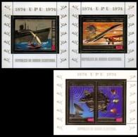 EQUATORIAL GUINEA 1974. UPU Ship Concorde Philatelic Exhibition /España 75/ Ovpt.gold Sheetlets:3 [Aufdruck,surimprimé] - Equatorial Guinea