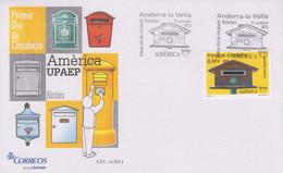 Enveloppe  FDC  1er  Jour   ANDORRE  ANDORRA   Union  Postale  Amériques   Espagne  Et   Portugal    2011 - Sin Clasificación