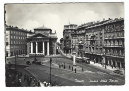 8635 -  TRIESTE PIAZZA DELLA BORSA ANIMATA AUTOBUS TRAM 1955 - Trieste