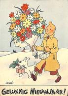 Carte Ancienne TINTIN Kuifje Milou Gelukkig Nieuwjaar Getekend HERGE (unieke Verkoop) - Fumetti