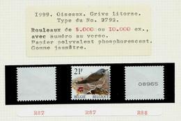 N° R87- 88  P 5b ( GJ) Grive Litorne - Kramsvogel - (**) Des Rouleaux De 5000 Ou 10 000 Ex. - 1985-.. Pájaros (Buzin)