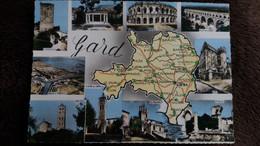 CPSM GEOGRAPHIQUE DEPARTEMENT DU GARD FOND JAUNE  ED CIM - Maps