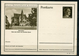 "German Empires1941 GS Kopfbild A.Hitler Mi.Nr.P304/41-185-1-B7""Lernt Deutschland Kennen!-Schweinfurt,Sportstadt  ""1 GS - Postwaardestukken"