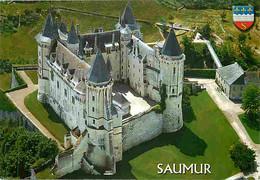 49 - Saumur - Le Château - Vue Aérienne - Blasons - CPM - Voir Scans Recto-Verso - Saumur