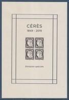 Bloc Cérès 2019 Salon Paris 4 Timbres Non Dentelés à 5.00€ Chaque Neufs Bloc 147 Composé De 4 N°5361E - Ungebraucht
