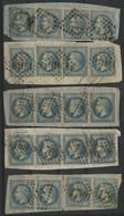 N° 29 B (x20) 20 Ct Bleu Type II Sur 6 Fragments Cote 74 € (voir Description) - 1863-1870 Napoléon III Lauré