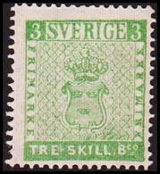1855. Skilling Banco. TRE (=3) Skill B:co Bluish Green. Line Perforation 14. Hinged. ... (Michel 1 PARIS) - JF414409 - Neufs
