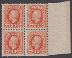 1891-1904. Oscar II. 25 öre Red Orange. Very Nice. 4-BLOCK WITH 2 STAMPS NEVER HINGED... (Michel 46) - JF414431 - Neufs