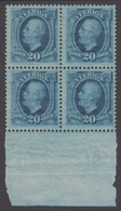 1891. Oscar II. 20 öre Ultramarin. LUX.. 4-BLOCK WITH 2 STAMPS NEVER HINGED + 2 HINGE... (Michel 45) - JF414432 - Neufs