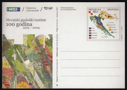 Croatia 2009 / Geology Map Geological Institute Zagreb 100 Years / Postal Stationery, Dopisnica, Carte Postale Post Card - Croatia