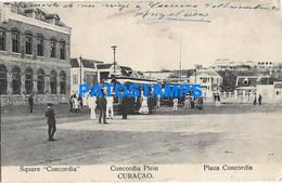 152544 CARIBBEAN ISLAND CURAÇAO SQUARE CONCORDIA & TRAMWAY POSTAL POSTCARD - Sin Clasificación