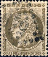 """FRANCE - 1871-75 - N°56 30c Brun-gris - Oblitéré GC """" 549 """" Boulogne-sur-Mer - 1871-1875 Ceres"""
