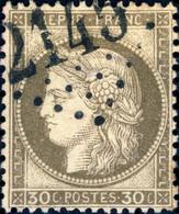 """FRANCE - 1871-75 - N°56 30c Brun-gris - Obl. GC """"2145"""" De Lyon - 1871-1875 Ceres"""