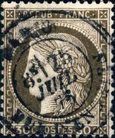 """FRANCE - 1871-75 - N°56 30c Brun-noir - Obl. CàD """" PARIS / RUE D'ENGHIEN """" - 1871-1875 Ceres"""