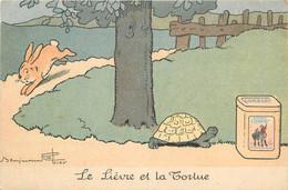 CPA ILLUSTRATEUR BENJAMIN RABIER / LE LIEVRE ET LA TORTUE - Rabier, B.