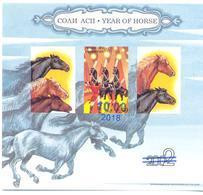 2018. Tajikistan, Year Of Horse, S/s With Blue OP, Mint/** - Tadschikistan