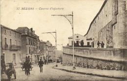 BEZIERS  Caserne D'Infanterie Animée Cheval Attelé - Beziers