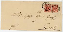 ALLEMAGNE POLOGNE LST 1891 RATIBOR FRAPPE SUPERBE SUR LETTRE POUR COSEL - Covers & Documents