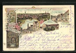 Lithographie Freising, Mittlere Hauptstrasse, Hofraum Des Weihenstephan, Panoramaansicht - Freising