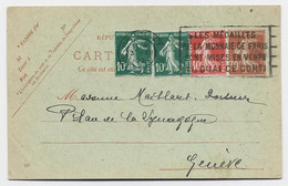 ENTIER 30C ROUGE SEMEUSE CP +10CX2+40C PARIS 47 23.XII.1926 POUR SUISSE AU TARIF - 1906-38 Sower - Cameo