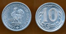 JETON // 1922 // COMITE De CHECY (Loiret) CHATEAUNEUF / SULLY / VITRY  // 2 X Dix Centimes // Alu - Monetary / Of Necessity