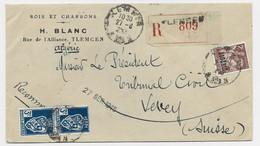 ALGERIE 2FR IRIS + 3FR BLASON PAIRE LETTRE REC TLEMCEN 27.6.1945 POUR SUISSE AU TARIF - Storia Postale