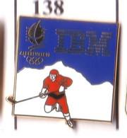 CC170 Pin's Albertville Jeux Olympiques IBM HOCKEY Version Dorée Achat Immédiat - Computers