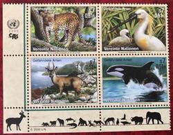 United Nations 2000 UN Vienna Block Endangered Species Wild Animals Mammals Birds Leopard Marine Life Stamps MNH - Nuevos