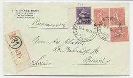 SEMEUSE N° 268+199X3 LETTRE REC PARIS 81 10.II.1931 POUR SUISSE AU TARIF - 1921-1960: Periodo Moderno