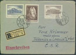 Österreich # 1020-1, 1028 Einschreiben Briefvorderseite Burgtheater Fischer V.Erlach. - 1945-60 Storia Postale