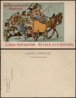 Carte Postale - Liège Exposition (couleur) : Un Recrutement Matinal, Retour Du Congrès / Neuve. - Liege