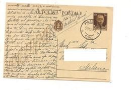 8707 INTERO POSTALE 30C IMPERIALE VINCEREMO 1942 PASTURO COMO - Entiers Postaux