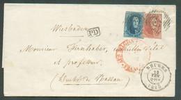 N°11A-12A - Médaillons 20 Et 40 Centimes (touché) Obl. P.23 à 14 Barres Sur L. DeBRUGESle 23 Février 1858 Vers Wiesbad - 1858-1862 Medaillen (9/12)