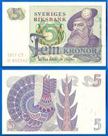 Suede 5 Couronnes 1977 NEUF UNC Que Prix + Port Gustav Vasa Kronor Sweden Kronor Sveriges Paypal Bitcoin OK - Schweden