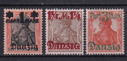 DANZIG - YVERT N° 38aa + 39aa + 41aa * MH - BURELAGE LILAS RENVERSE - COTE = 57.5 EUR. - Danzig