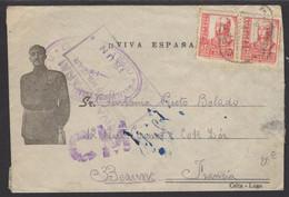 GUERRE D'Espagne : Enveloppe Afrt Avec 30c X2 Oblt CàD + Cachet Vaguemestre BATALLON DE TRABAJADORES + Censura De IRUN - 1931-50 Cartas
