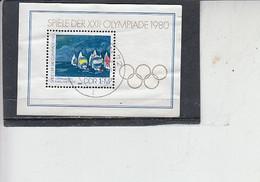 GERMANIA DDR 1980 - Olimpiade - BF 60 - Sport - Vela -.- - FDC: Hojas